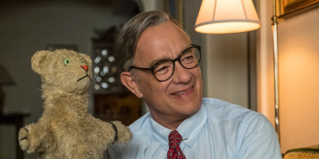 "This image released by Sony Pictures shows Tom Hanks as Mister Rogers in a scene from ""A Beautiful Day In the Neighborhood."" On Monday, Jan. 13 Hanks was nominated for an Oscar for best supporting actor for his role in the film."