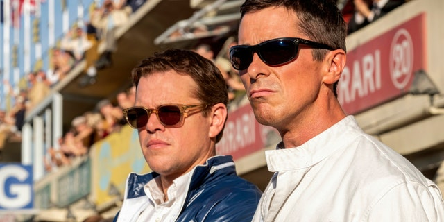 "This image released by 20th Century fox shows Christian Bale, right, and Matt Damon in a scene from ""Ford v. Ferrari."""