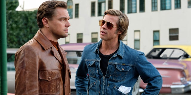 "This image released by Sony Pictures shows Leonardo DiCaprio, left, and Brad Pitt in a scene from ""Once Upon a Time in Hollywood."""