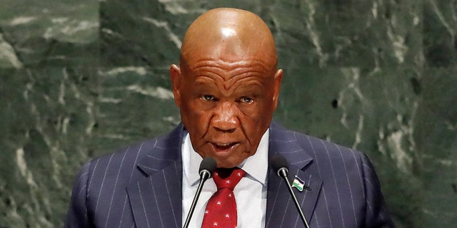 In this Friday, Sept. 27, 2019, file photo Lesotho's Prime Minister Thomas Motsoahae Thabane addresses the 74th session of the United Nations General Assembly. (AP Photo/Richard Drew, File)