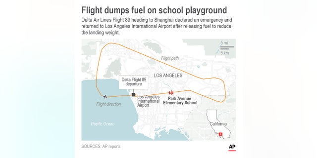 A map shows Delta Flight 89 path over Los Angeles.