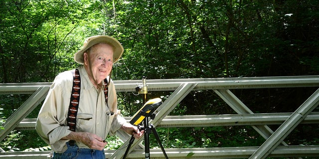 """This Aug. 2, 2016 photo provided by Indiana Department of Natural Resources shows Bob Vollmer. Vollmer, 102, who is Indiana's oldest state employee is retiring after nearly six decades on the job, saying that """"your body tells you when it's time to go."""" (John Maxwell/ Indiana Department of Natural Resources via AP)"""