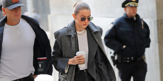 Gigi Hadid arrives at a Manhattan courthouse for Harvey Weinstein's jury selection in his trial on rape and sexual assault charges in New York, Thursday, Jan. 16, 2020.