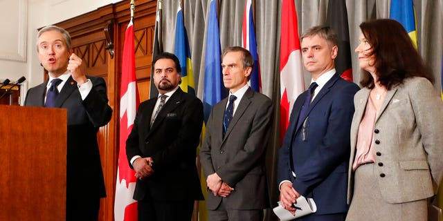 Foreign ministers from Canada, Afghanistan, the U.K., Ukraine, and Sweden after a meeting of the International Coordination and Response Group for the families of the victims of a flight that crashed shortly after taking off from Tehran.