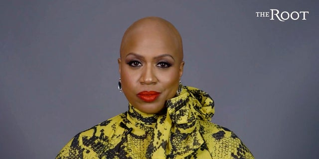 Rep. Ayanna Pressley appeared in a video posted Thursday announcing that she has gone bald due to alopecia. (Courtesy of The Root and G/O Media via AP)