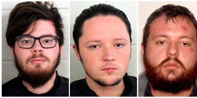 Luke Austin Lane of Floyd County, Jacob Kaderli of Dacula, and Michael Helterbrand of Dalton, Ga. FBI spokesman Kevin Rowson said Friday that agents assisted in the arrests of the three Georgia men linked to The Base, a violent white supremacist group, on charges of conspiracy to commit murder and participating in a criminal street gang. (Floyd County Police via AP)