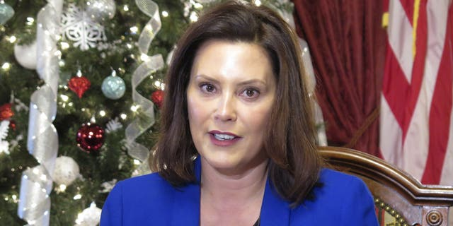 FILE - In this Dec. 18, 2019, file photo, Michigan Gov. Gretchen Whitmer speaks at the Capitol in Lansing, Mich. (AP Photo/David Eggert, File)