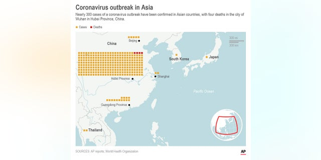 Map shows coronavirus outbreak cases in Asia.