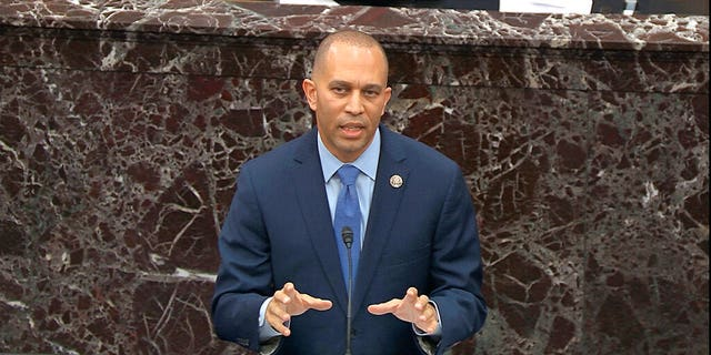 House impeachment manager Rep. Hakeem Jeffries, D-N.Y., speaks during the impeachment trial against President Donald Trump in the Senate at the U.S. Capitol in Washington, Wednesday, Jan. 22, 2020. (Senate Television via AP)