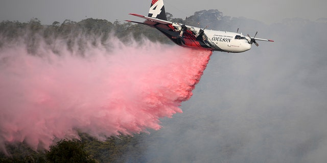 Jan. 10, 2020: Rural Fire Service large air tanker 134, operated by Coulson Aviation in the U.S. state of Oregon, drops fire retardant on a wildfire burning close to homes at Penrose, Australia, 165km south of Sydney. Three American crew members died Thursday when this C-130 Hercules aerial water tanker crashed while battling wildfires in southeastern Australia, officials said. (Dan Himbrechts/AAP Image via AP)