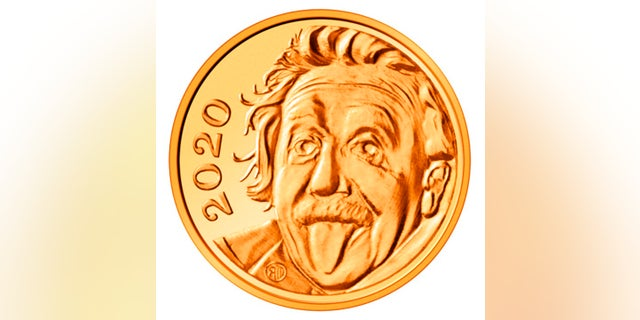 This undated image provided by Swissmint shows a gold coin with the face of Albert Einstein on the image side. State-owned Swissmint said Thursday that the 0.12-inches gold coin is the smallest in the world. (Handout Swissmint/Benjamin Zurbriggen via AP)