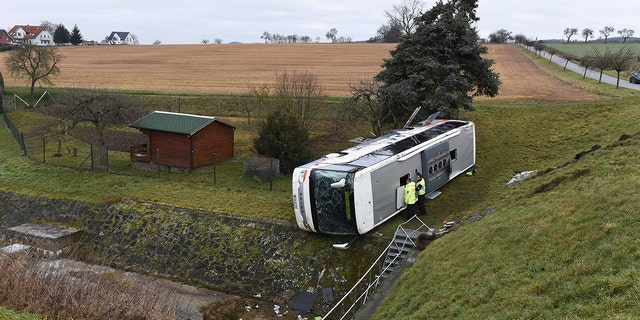 Public broadcaster MDR reported that 20 children and the bus driver were injured in the crash in Berka, about 260 kilometers (160 miles) southwest of Berlin. (Swen Pfoertner/dpa via AP)