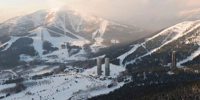 This Feb. 10, 2009, aerial photo shows the Tomamu ski resort in Shimukappu village, central Hokkaido, northern Japan. An avalanche occurred at the ski resort on Thursday, Jan. 30, 2020, hitting a group of eight foreign skiers. (Kyodo News via AP)