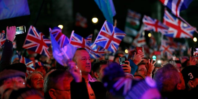 Brexit supporters gather during a rally in London on Friday. (AP Photo/Frank Augstein)