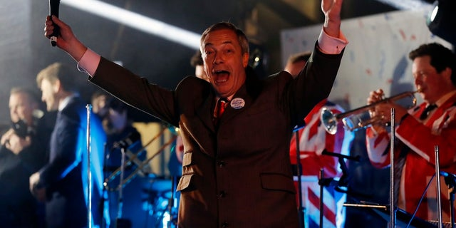 Brexit Party leader Nigel Farage celebrates during a rally in London on Friday(AP Photo/Frank Augstein)