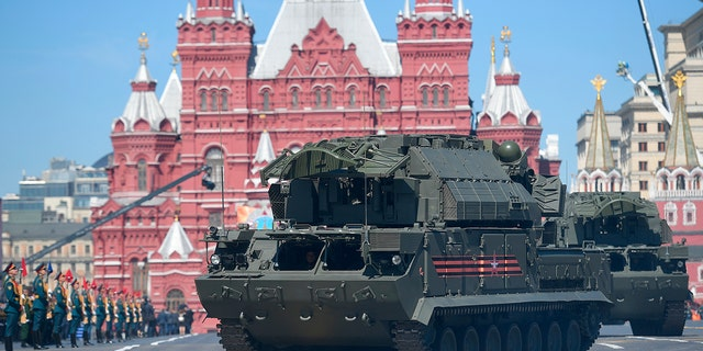A TOR-M2/SA-15 Gauntlet tactical surface-to-air missile system -- similar to the one the U.S. believes mistakenly shot down a Ukrainian passenger plane in Iran Wednesday -- is seen in Moscow.