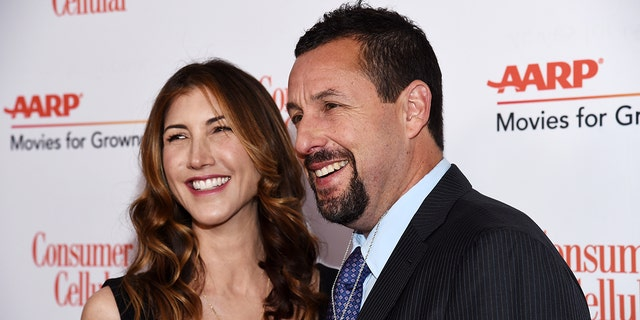 Adam Sandler and Jackie Sandler arrive at AARP The Magazine's 19th Annual Movies For Grownups Awards at the Beverly Wilshire, A Four Seasons Hotel on January 11 in Beverly Hills, Calif.