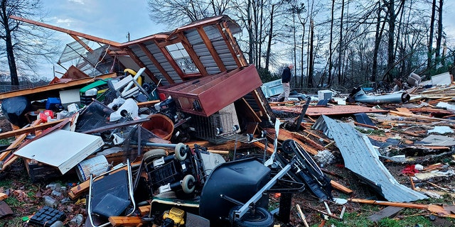 This photo provided by Bossier Parish Sheriff's Office shows damage from Friday nights severe weather, including the home of an elderly in Bossier Parish, La., on Saturday, Jan. 11, 2020. (Lt. Bill Davis/Bossier Parish Sheriff's Office via AP)