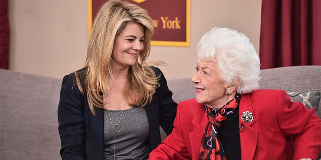 """Lisa Whelchel (L) and Charlotte Rae attend Hallmark's Home and Family """"Facts Of Life Reunion"""" at Universal Studios Backlot on February 12, 2016, in Universal City, California."""