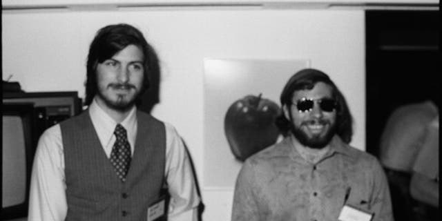 Portrait of American businessmen and engineers Steve Jobs (left) and Steve Wozniak, co-founders of Apple Computer Inc, at the first West Coast Computer Faire, where the Apple II computer was debuted, in Brooks Hall, San Francisco, April 16th or 17th, 1977. (Getty Images)