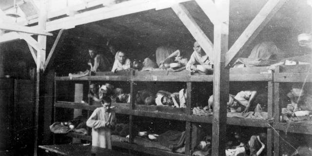 Inmates are seen lying on bunks in a barrack at Nazi German death camp Auschwitz-Birkenau after its liberation in 1945 in Nazi-occupied Poland, in this undated handout picture obtained by Reuters on January 19, 2020. Courtesy of Yad Vashem Archives/Handout via REUTERS ATTENTION EDITORS - THIS IMAGE WAS PROVIDED BY A THIRD PARTY. - RC2WJE987U6H