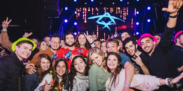 Birthright Israel participants enjoy the 20th-anniversary kick-off festivities.