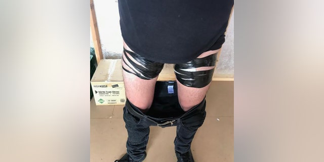 The CBP did not name the 19-year-old man who they said was discovered with bags of fentanyl pills taped to his thighs.