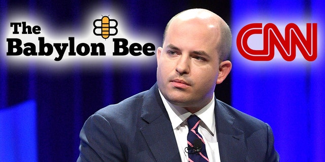 The Babylon Bee poked fun at CNN and correspondent Brian Stelter in a satirical article. (Matt Winkelmeyer/Getty Images for Vanity Fair, Montage)