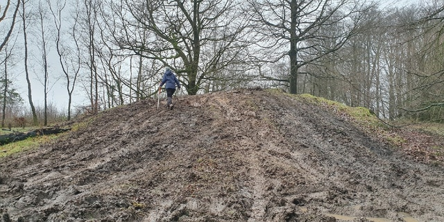 The Bronze Age burial mound was damaged by off-road vehicles.