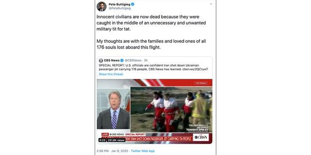 Westlake Legal Group Buttigieg-Tweet Buttigieg faces backlash for suggesting America's 'tit for tat' with Iran responsible for downed airplane Joseph Wulfsohn fox-news/world/conflicts/iran fox-news/tech/companies/twitter fox-news/politics/2020-presidential-election fox-news/person/ted-cruz fox-news/person/pete-buttigieg fox-news/person/donald-trump fox-news/media fox news fnc/politics fnc c2203e49-20d1-549e-bfb8-043e3fc39a9c article