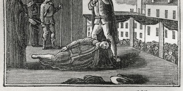 Execution of Charles I, 1649, Illustration from the Book, Historical Cabinet, LH Young Publisher, New Haven, 1834.