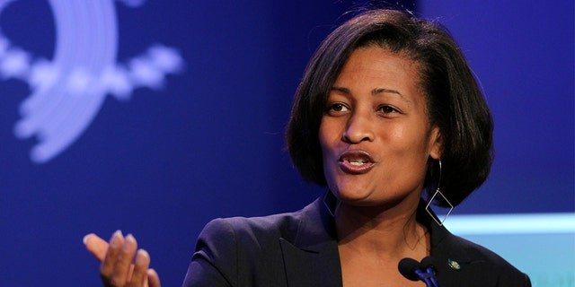 Cheryl Mills, counselor and chief of staff for U.S. Secretary of State Hillary Clinton, speaks during the annual meeting of the Clinton Global Initiative (CGI) in New York, U.S., on Monday, Sept. 24, 2012. Photographer: Jin Lee/Bloomberg via Getty Images