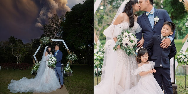 Chino and Kat Vaflor married at a venue roughly 10 miles from Taal Volcano Sunday, right as the volcano was erupting.