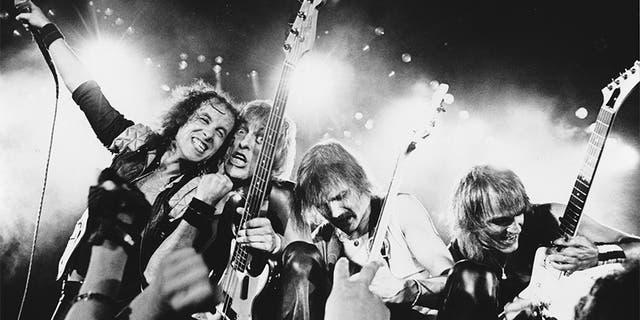 (L-R) Klaus Meine, Francis Bucholz, Rudolph Schenker and Matthias Jabs of Scorpions, circa 1984.