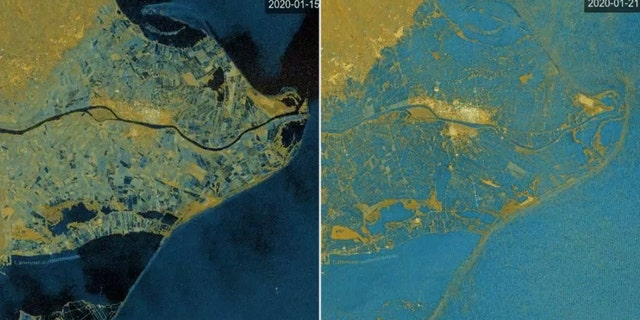 Before and after images of the Ebro delta flooded after the storm.