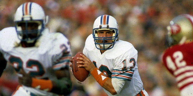 Miami Dolphins Hall of Fame quarterback Dan Marino (13) scans the field during Super Bowl XIX, a 38-16 loss to the San Francisco 49ers on January 20, 1985, at Stanford Stadium in Stanford, California. (Photo by Rob Brown/Getty Images)