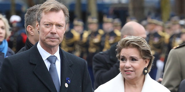 Henri, Grand Duke of Luxembourg, and his wife Maria Teresa, Grand Duchess of Luxembourg, leave after a commemoration ceremony for Armistice Day, 100 years after the end of World War One, at the Arc de Triomphe, in Paris, France, November 11, 2018. Ludovic Marin/Pool via REUTERS