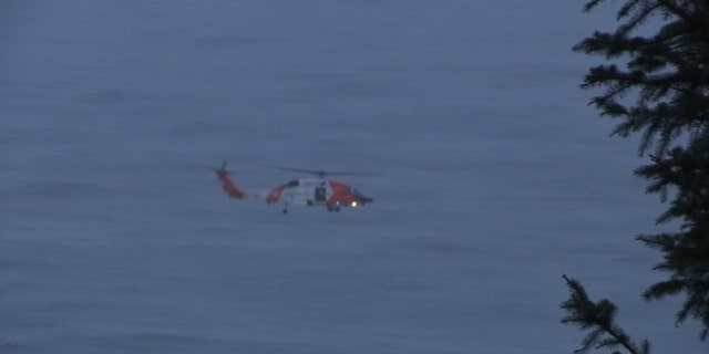 Photo shows Coast Guard helicopter searching for boy 4, who was swept out to sea Saturday near Falcon Cove in Oregon.