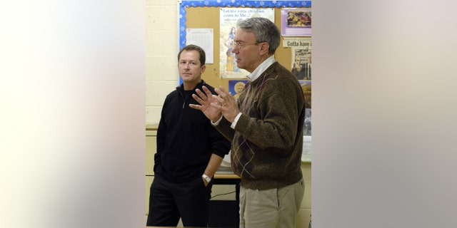 David Kaczynski, right, brother of the Unabomber, Ted Kaczynski, and Gary Wright, a Unabomber victim, speak to students in a classroom in Troy, New York, Tuesday, April 17, 2007.