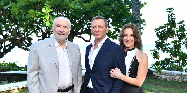 "(L-R) Producer Michael G Wilson, cast member Daniel Craig and producer Barbara Broccoli attend the ""Bond 25"" film launch at Ian Fleming's Home 'GoldenEye' on April 25, 2019 in Montego Bay, Jamaica."