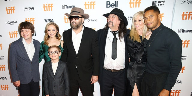 Left to right: Arthur, Julian Hilliard, Nicolas Cage, Richard Stanley, Joely Richardson and Elliot Knight attend the 'Color Out of Space' premiere during the 2019 Toronto International Film Festival at Ryerson Theatre on September 07, 2019, in Toronto, Canada.