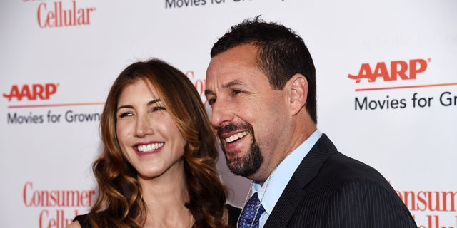 dam Sandler and Jackie Sandler arrive at AARP The Magazine's 19th Annual Movies For Grownups Awards at the Beverly Wilshire on Jan. 11.
