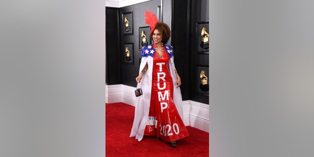 Joy Villa turned heads with yet another pro-Trump inspired gown on Jan. 26.