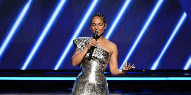 Host Alicia Keys speaks onstage during the 62nd Annual Grammy Awards at Staples Center on January 26, 2020 in Los Angeles, Calif.
