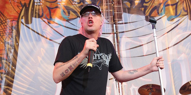 Jani Lane of Warrant performs at Rock The Bayou on August 31, 2008, in Houston, Texas.