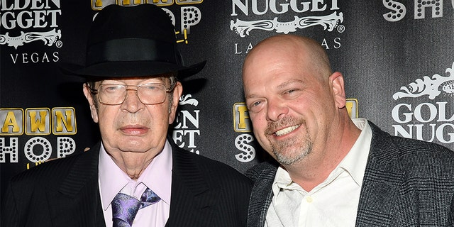 Richard 'The Old Man' Harrison, left, father of Rick Harrison, right, passed away on June 25, 2018, at age 77 after a battle with Parkinson's disease.