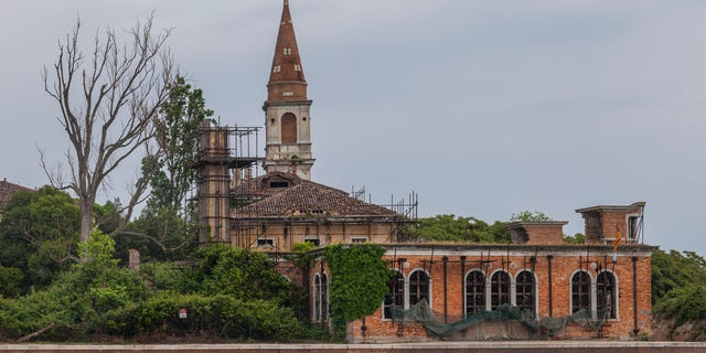 A general view of the 19th century Venetian geriatric hospital in Poveglia island in the Venice lagoon, Italy.
