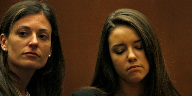 Alexis Christine Neiers(right) flank by her attorney Susan Morris Haber(left) during the sentencing hearing. Neiers, who is charged in a burglary at actor Orlando Blooms house, pleaded guilty Monday in Superior Court in Los Angeles on May 10, 2010.