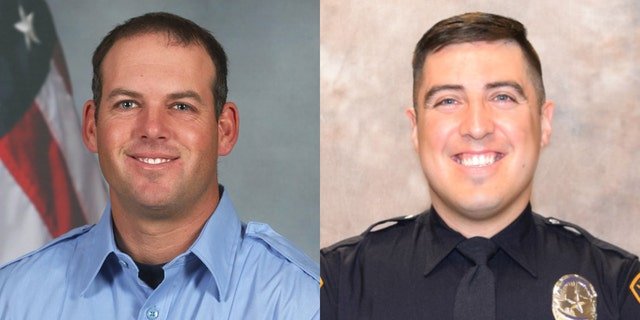 Lubbock Firefighter Lt. David Hill (left) and Police Officer Nicholas Reyna (right) were killed when they were hit by a vehicle while responding to a series of crashes on an interstate as wintry weather was reported in the area.