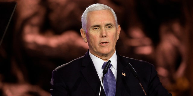 Vice President Mike Pence speaks during the World Holocaust Forum in Jerusalem, Thursday. (Abir Sultan/Pool Photo via AP)